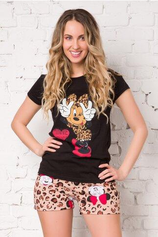Pijama Minnie cu tricou negru si pantaloni scurti cu animal print