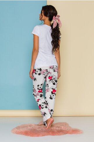 Pijama Minnie&Mickey cu tricou alb si pantaloni albi cu imprimeu