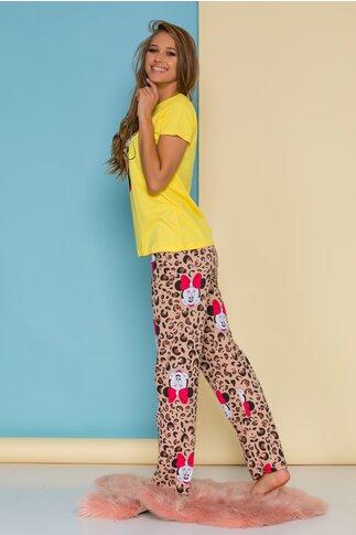 Pijama Minnie Mouse cu tricou galben si pantaloni animal print