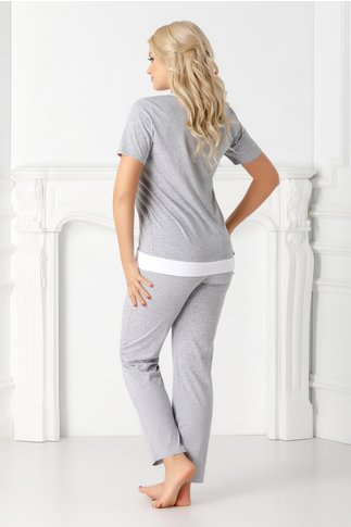 Pijama Natasa gri cu tricou si pantaloni
