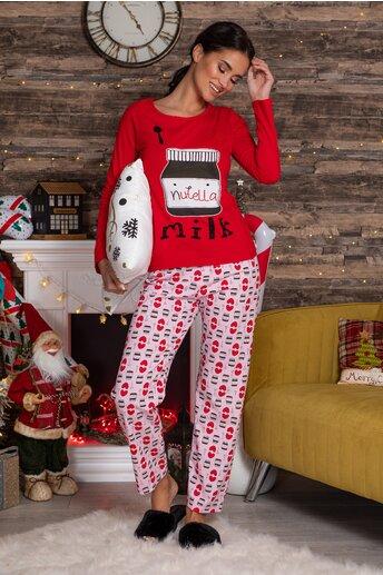 Pijama Nutella cu bluza rosie si pantaloni roz cu imprimeu