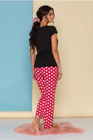 Pijama Peak-a-bow cu tricou negru Minnie Mouse si buline