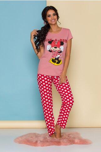 Pijama Peak-a-bow cu tricou roz Minnie Mouse si buline