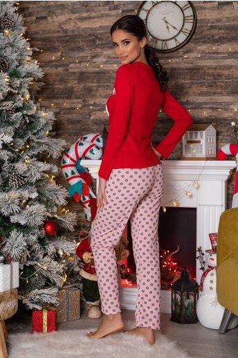 Pijama Peek-a-Bow cu bluza rosie si pantaloni roz cu buline