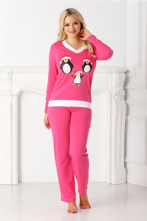 Pijama Pingu roz cu pinguini