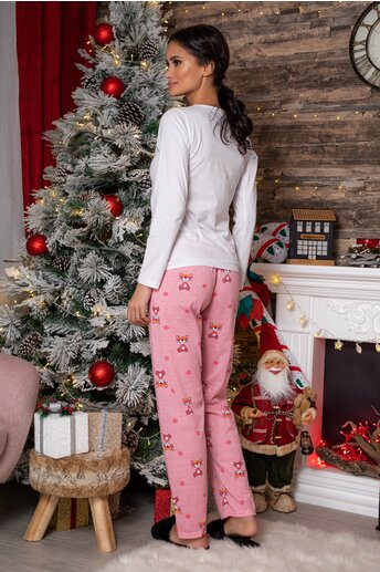Pijama Pink Panther cu bluza alba si pantaloni roz