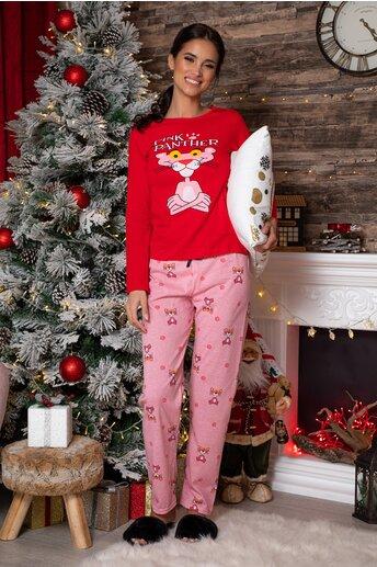 Pijama Pink Panther cu bluza rosie si pantaloni roz