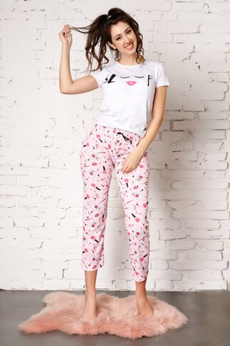 Pijama Sleep cu pantaloni roz si imprimeu