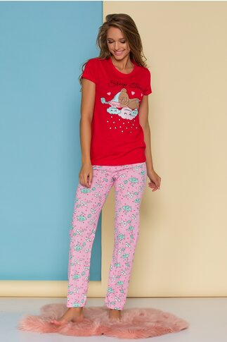 Pijama Sleep Time cu tricou rosu si pantaloni roz cu imprimeu