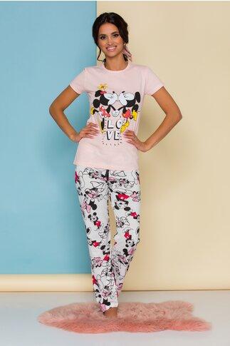 Pijama Super Love cu tricou roz somon si pantaloni albi cu imprimeu