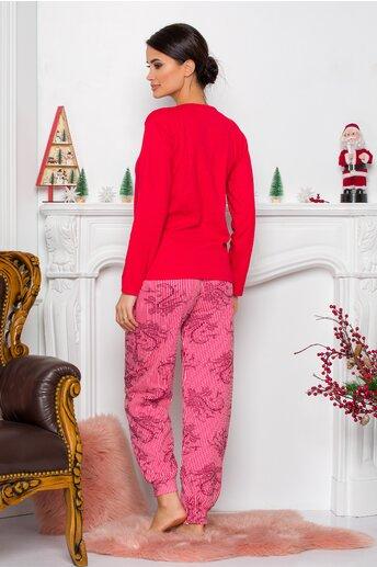 Pijama Sweety rosu cu Mos Craciun