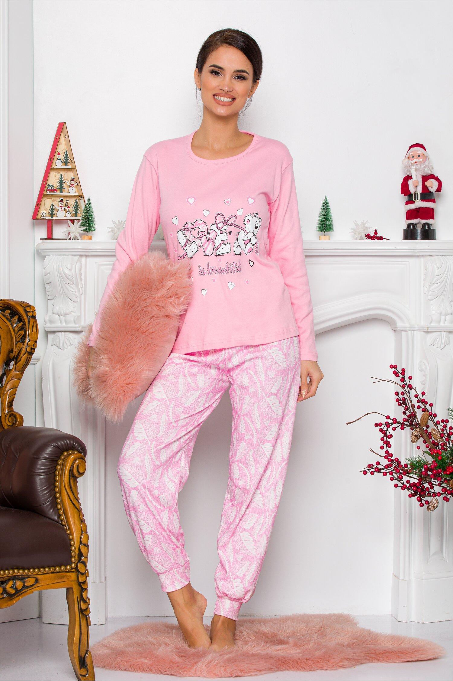 Pijama Sweety roz deschis cu ursulet