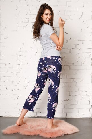 Pijama Too Cute cu pantaloni bleumarin si tricou gri