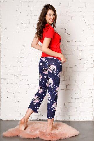 Pijama Too Cute cu pantaloni bleumarin si tricou rosu