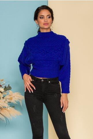 Pulover albastru tricotat cu modele pe spate si bust