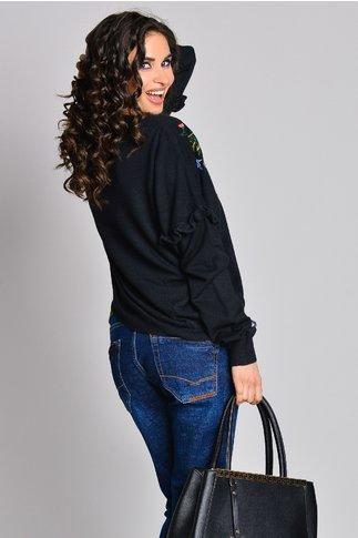 Pulover Calipso negru din tricot fin
