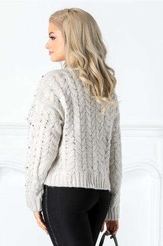 Pulover gri tricotat cu perlute
