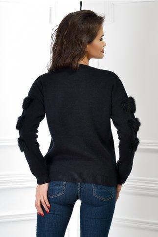 Pulover Juliet negru din tricot cu blanita