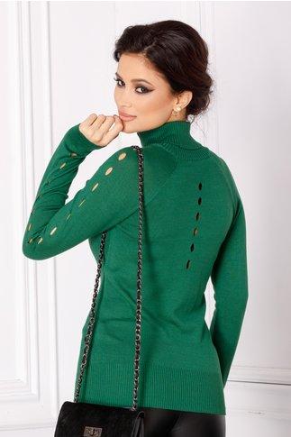 Pulover Lyly verde cu guler inalt