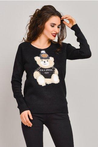 Pulover Melania negru cu ursulet jucaus