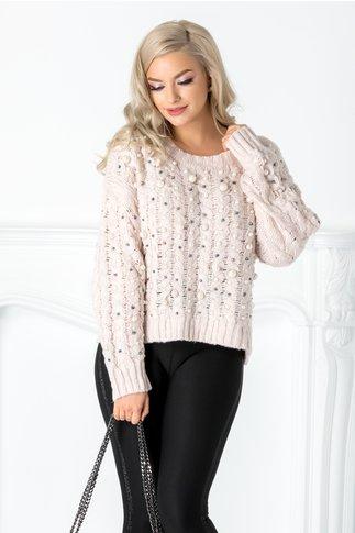 Pulover roz pal tricotat cu perlute