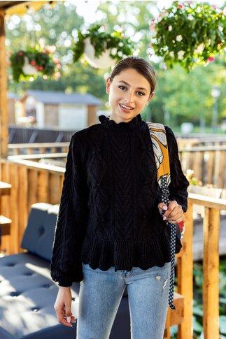 Pulover Sandra negru cu peplum in talie