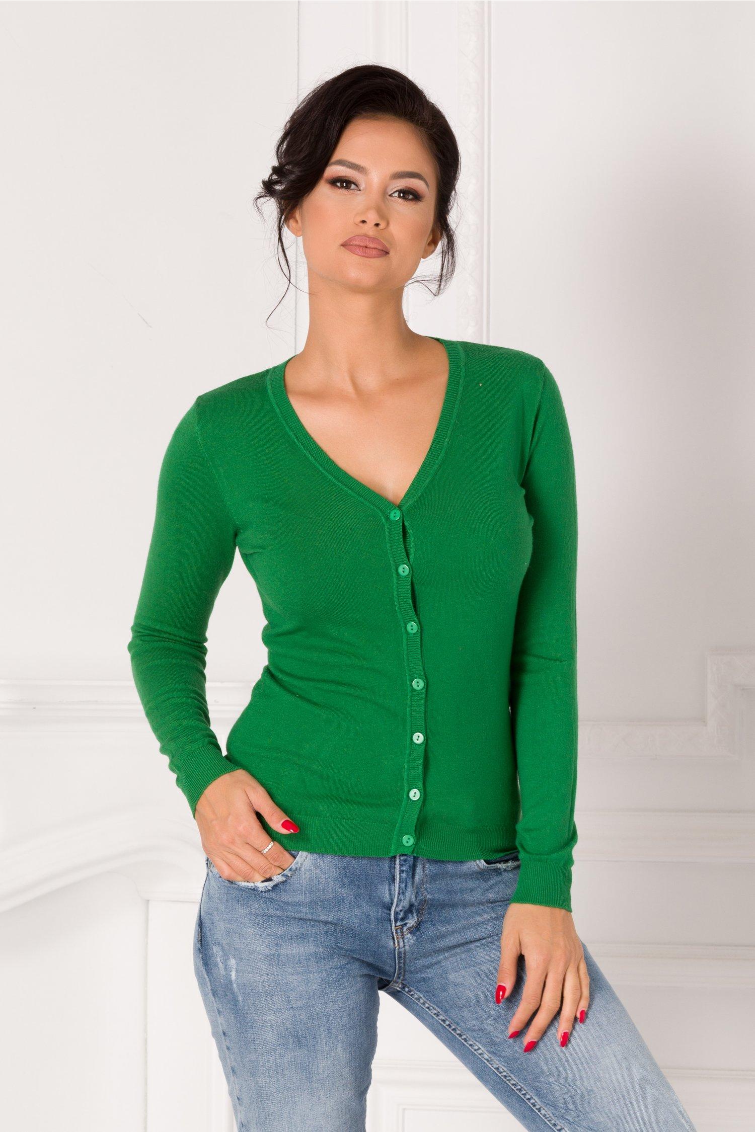 Pulover verde casual cu nasturi