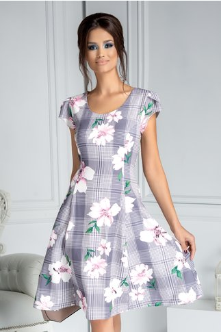Rochie Helga de zi gri cu carouri si flori roz