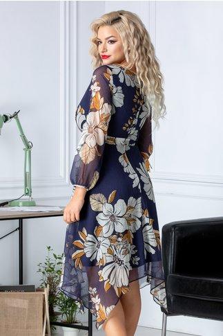 Rochia Aza din voal bleumarin cu imprimeuri florale