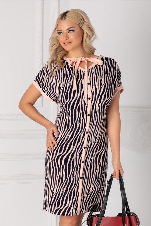 Rochia Damia cu print zebra roz-bleumarin