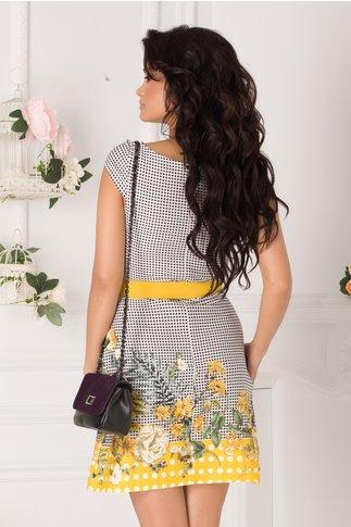 Rochia Dariana alba cu buline si imprimeu floral galben