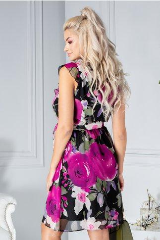Rochia Lenya neagra cu imprimeu floral fucsia