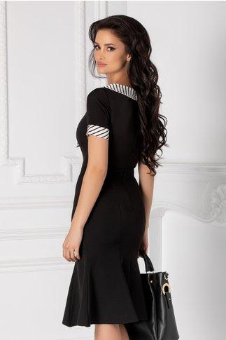Rochia Natalia neagra cu guler si mansete albe cu dungi