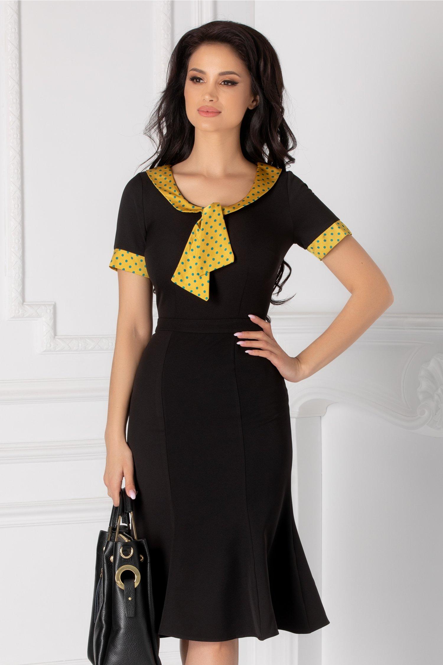 Rochia Natalia neagra cu guler si mansete galbene cu buline turcoaz