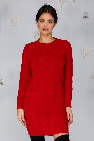 Rochia Tania rosie tricotata cu model impletit
