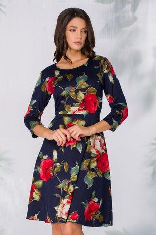 Rochia Tyla bleumarin tip jerse cu imprimeu floral