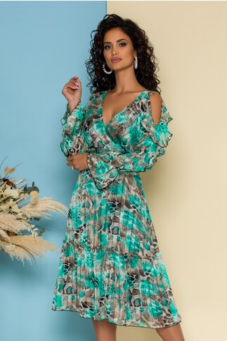 Rochie Leonard Collection turcoaz cu animal print