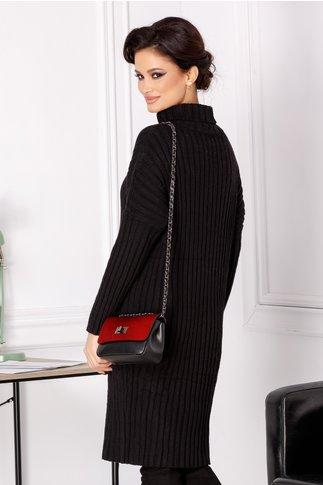 Rochie Malina neagra din tricot cu guler inalt