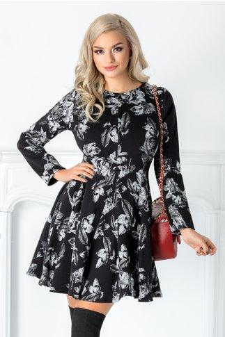 Rochie Minny neagra cu imprimeu floral gri