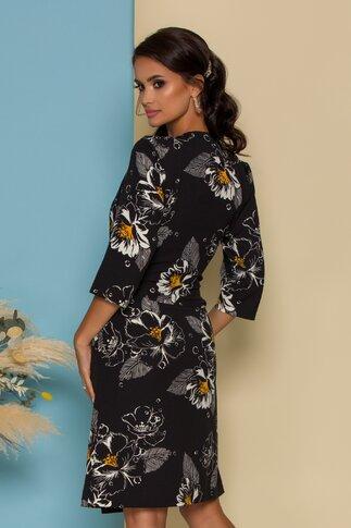 Rochie Abbi petrecuta neagra cu imprimeuri florale