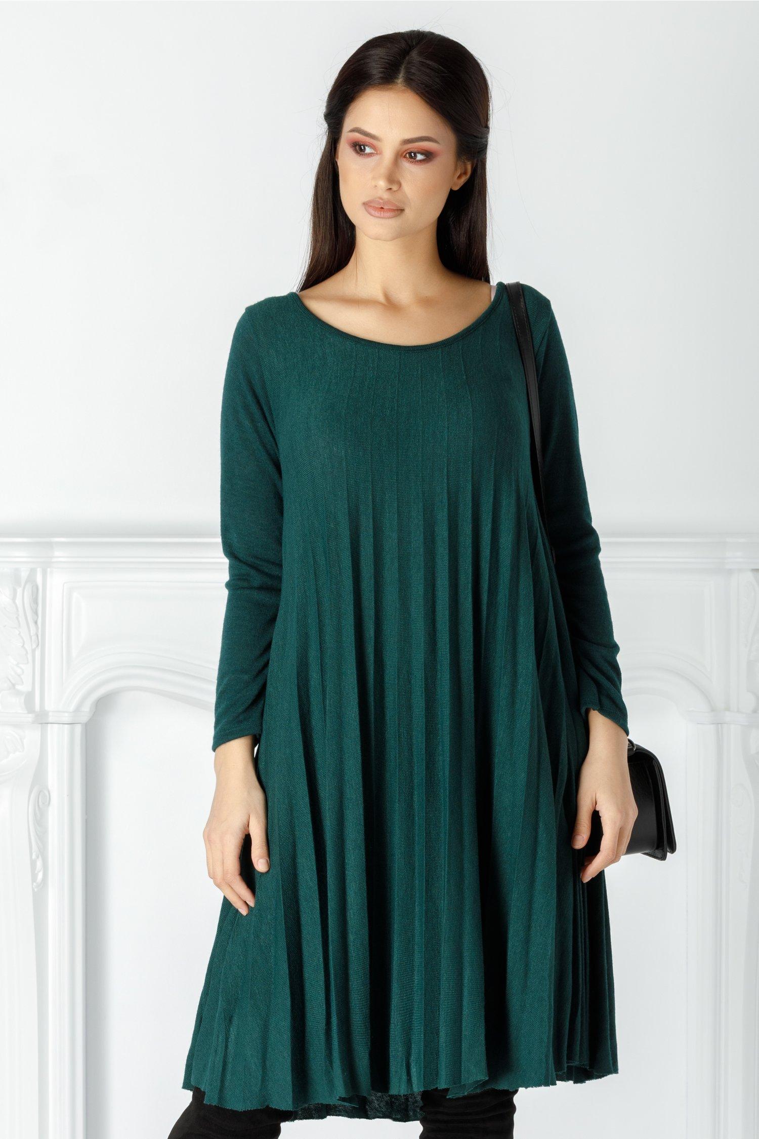 Rochie Abby verde plisata