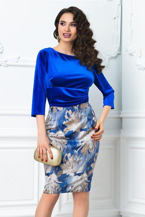 Rochie Abena albastra cu imprimeu floral crem