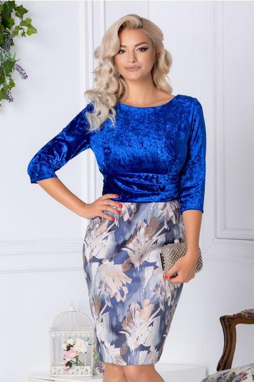 Rochie Abena midi albastra cu imprimeu floral crem