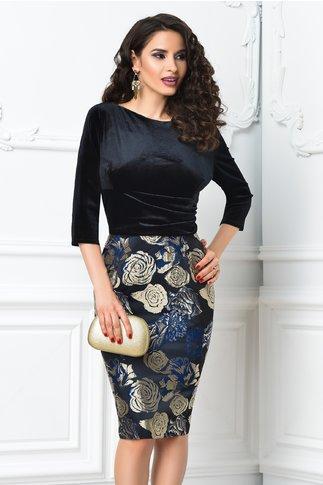 Rochie Abena neagra cu imprimeu floral bej