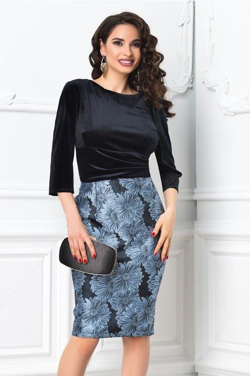 Rochie Abena neagra cu imprimeu floral gri