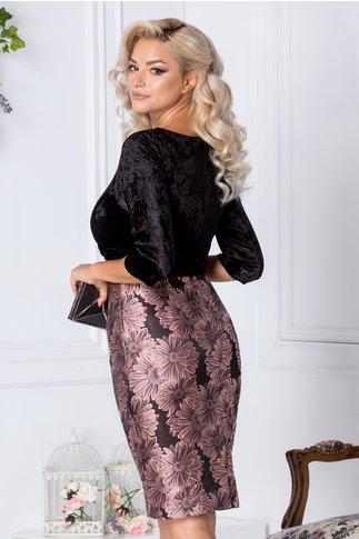 Rochie Abena neagra cu imprimeu floral roz