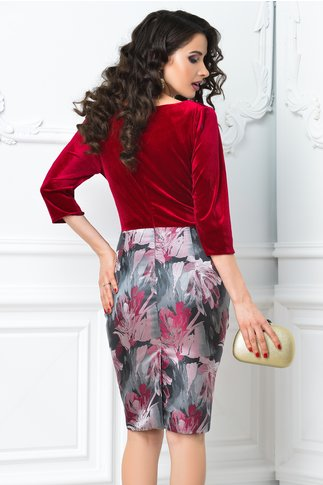Rochie Abena rosie cu imprimeu floral roz