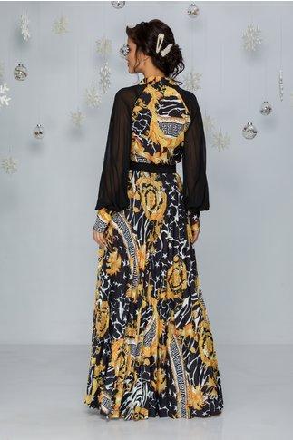 Rochie Abida neagra lunga cu imprimeuri diverse si fusta plisata