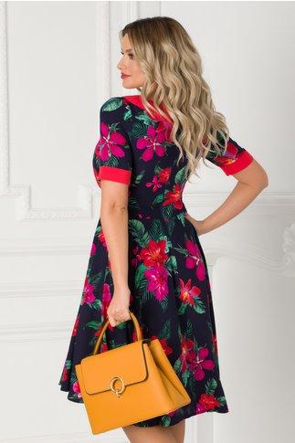 Rochie Adalia bleumarin cu imprimeu floral si guler tip esarfa