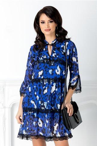Rochie Adana albastru indigo cu dantela si animal print